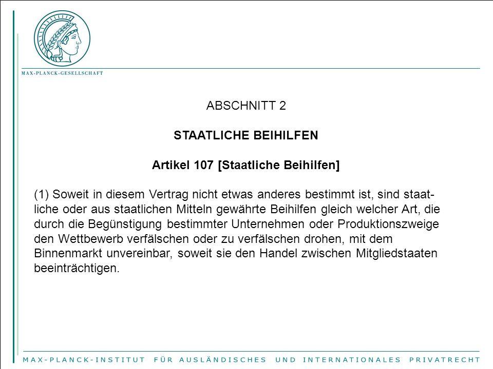 Artikel 107 [Staatliche Beihilfen]